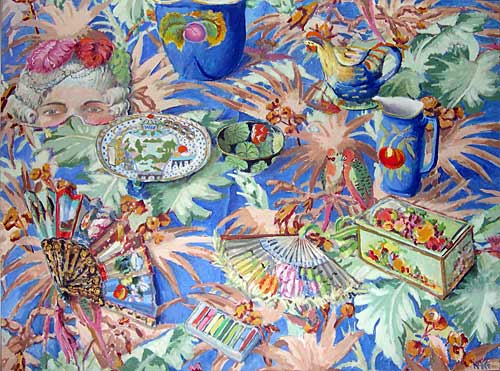 KFStill-Life-on-Palm-Leaf-Fabric-36x48-5500